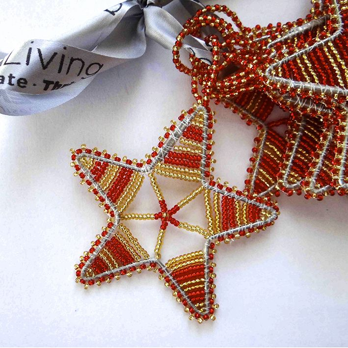 Beaded Red Star Christmas Ornament - Utique | the online gift boutique