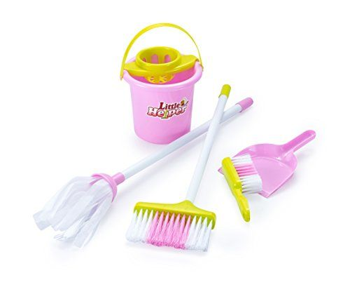 Housekeeping & Cleaning Playset – Mini Clean Up Broom, Mop and Bucket set Kids with Other Play Pretend Toys – Perfect Gift for Ages 3 & Up  COMPLETE HOUSEKEEPING PLAY SET - Colorful, Durable Plastic Kit Arrives with Everything Toddlers Need for Cleaning Role Play; Great for Indoor & Outdoor Use  REAL CLEANING EQUIPMENT - Toddlers Tidy Up Like Mom & Dad With a Fully Functional Mop & Bucket, Broom & Dust Pan, Brushes & Other Handy Gear  PLAY PRETEND ACCESSORIES - Kids Play Safely With Ma...