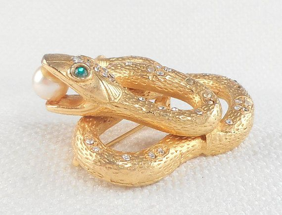 Vintage Gold Jeweled Mandle Snake Pin Brooch Rare Mandle Snake