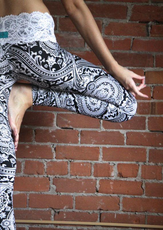 ALLURE lace-waist yoga leggings - Muladhara Yoga on Etsy