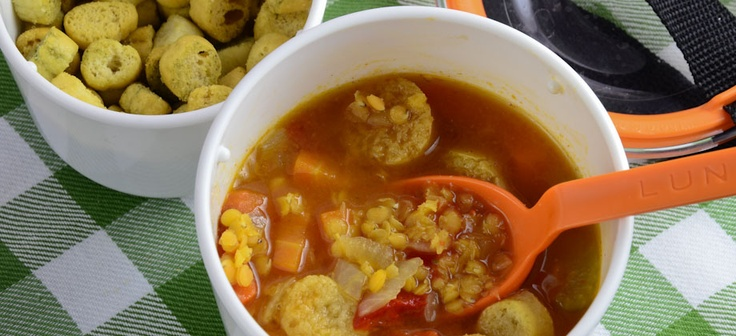 Red lentil soup and roasted peppers