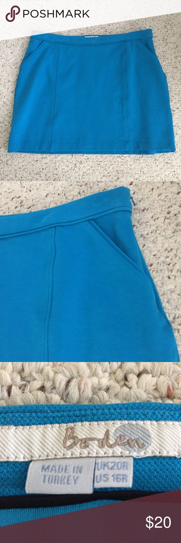 "Boden Turquoise Mini Skirt Size 16 Women's Boden Mini Skirt  Pretty solid turquoise color  Very nice quality. Thick material and lined.  85% Cotton 13% Polyamide 2% Elastane  UK Size 20 US Size 16  Waist measures 19"" across  Length measures 17.5""  Very good condition. There is a slight discoloration on the back of the skirt. See up close picture. No other flaws that I see. Boden Skirts Mini"