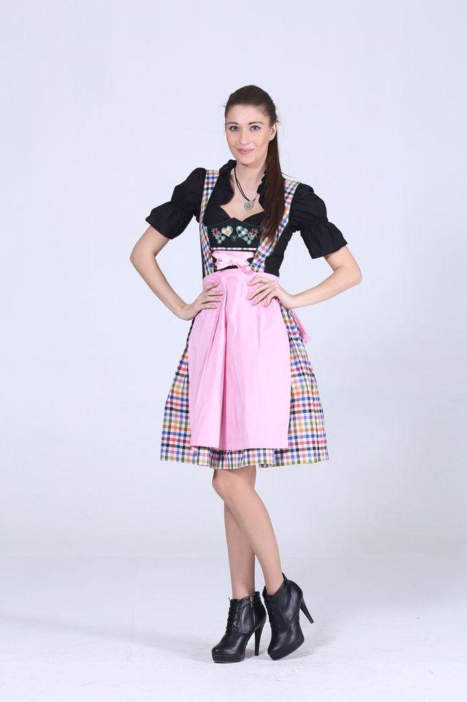 Herziges 3tlg. Dirndl buntkariert mit Bluse und Schuerze  Bunt ist meine Lieblingsfarbe. Das bunt-karierte Kleid trägt am Dekollete hübsche Applikationen mit Blumen und Herzen und eine rosa Schnürband mit Satinglanz. Darüber wird eine rosa Schürze gebunden. Am Rücken befindet sich ein verdeckter Reißverschluss. Der Ausschnitt der schwarzen Bluse lässt sich mit einem Tunnelzugband variieren. Details: Artikelnummer..