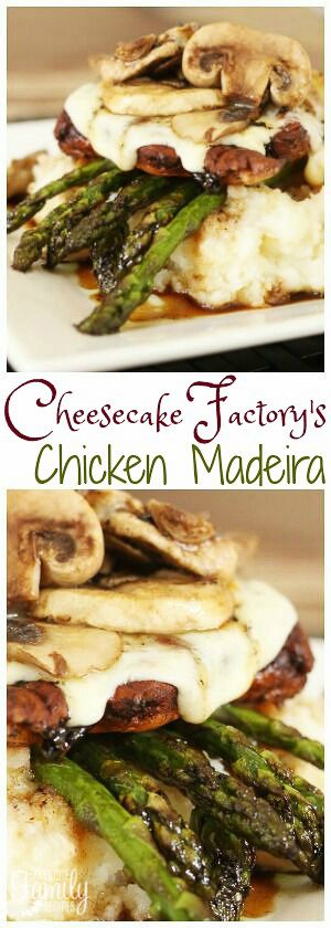 Cheesecake Factory Chicken Madeira has everything you need. Chicken, asparagus, cheese, mushrooms, not to mention the incredible sauce that tops it all