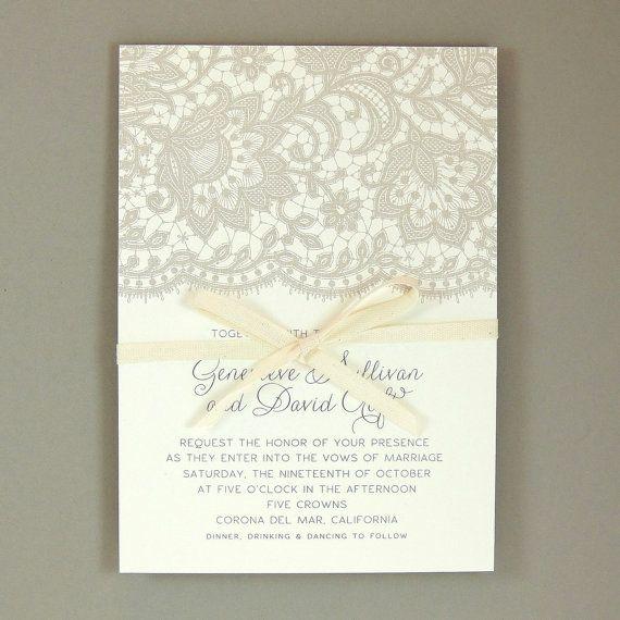 Genevieve Suite  pizzo elegante invito a nozze  di JPstationery