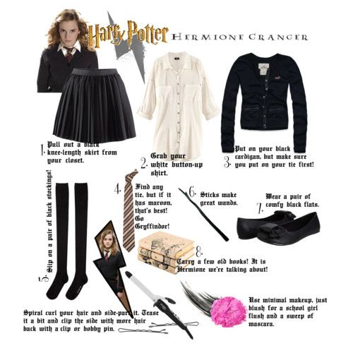 DIY Hermione Granger Costume---- don't even have to worry about the hair!