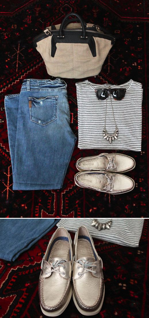 SPERRY TOP-SIDERS BOAT SHOES POST OUTFIT INSPIRATION PAIGE DENIM SKYLINE ANKLE JEANS METALLICS GOLD T BY ALEXANDER WANG LINEN STRIPED SHIRT BURLAP SMALL EMILE TOTE CELINE SUNGLASSES  PAMELA LOVE TRIBAL SPIKE SILVER NECKLACE OUTFIT BLOGGER