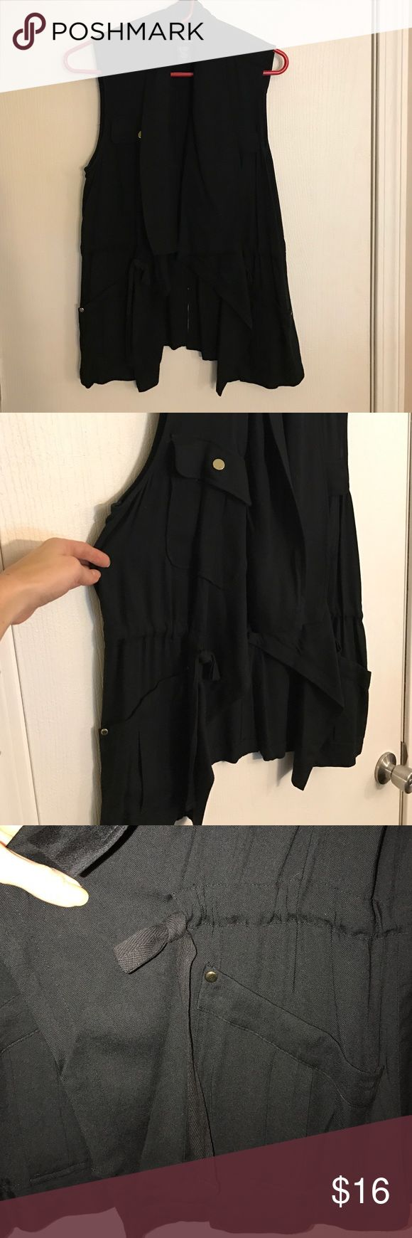 Black Vest Great black Vest/Cardigan in size small. Great detailing, pockets and drawstring waist. Tops