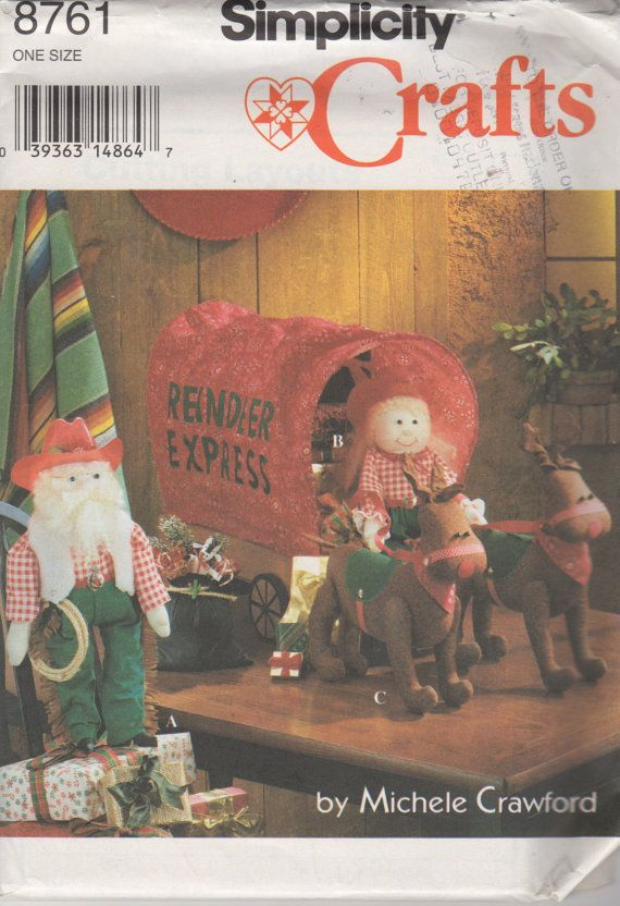 Simplicity 8761 Cowboy Santa Mrs. Claus Dolls, doll clothes Reindeer and covered wagon sewing pattern Michele Crawford by mbchills
