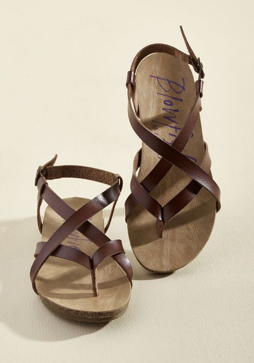 30465a6cc Everyday Nonchalance Sandal in Brown - Even your mellow attitude can t hold  back your glee over these whiskey-brown sandals by Blowfish!