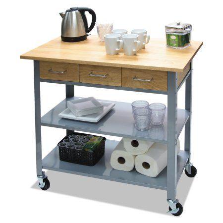 Vertiflex Countertop Serving Cart, 35 1/2 inch x 19 3/4 inch x 34 1/4 inch, Silver/Brown