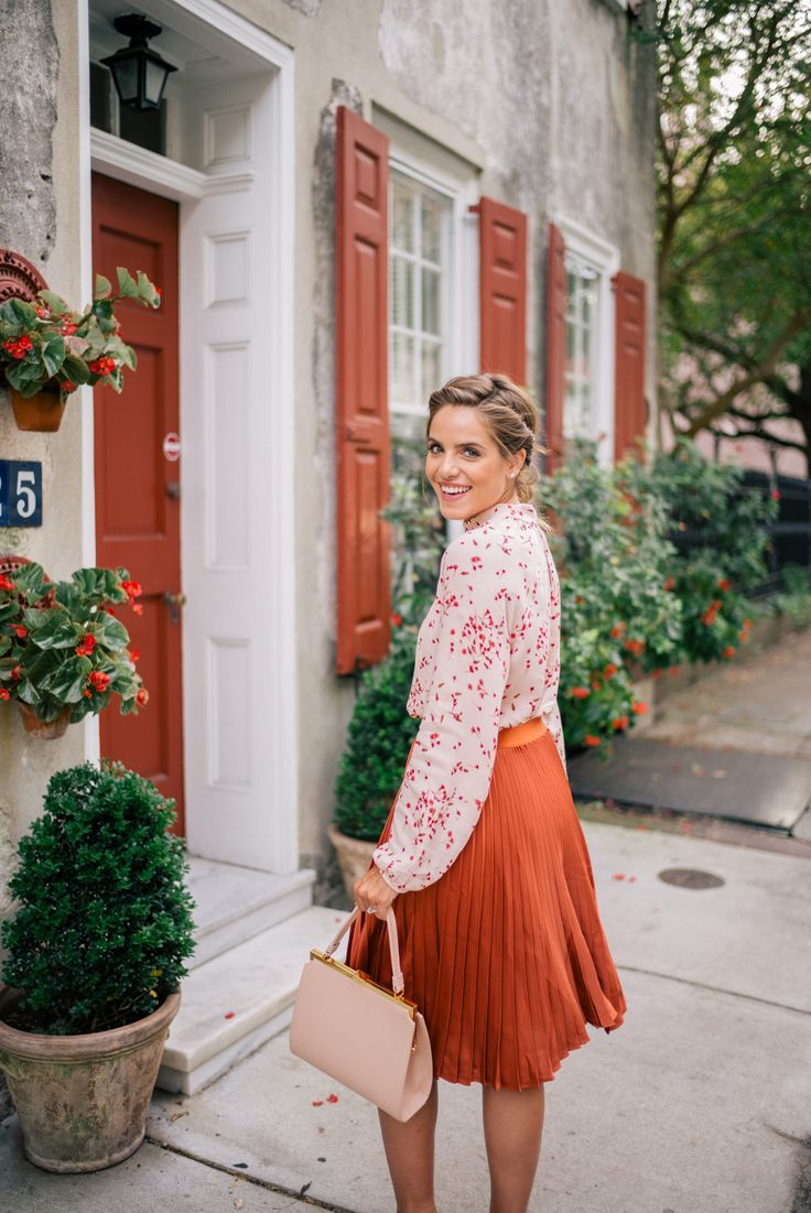 Outfit Details: Express Top, Skirt & Pumps c/o, Mansur Gavriel Bag  Even if the leaves haven't changed yet, it's not hard to spot some of the beautiful autumnal colors around Charleston. Just look amongst the colorful ...