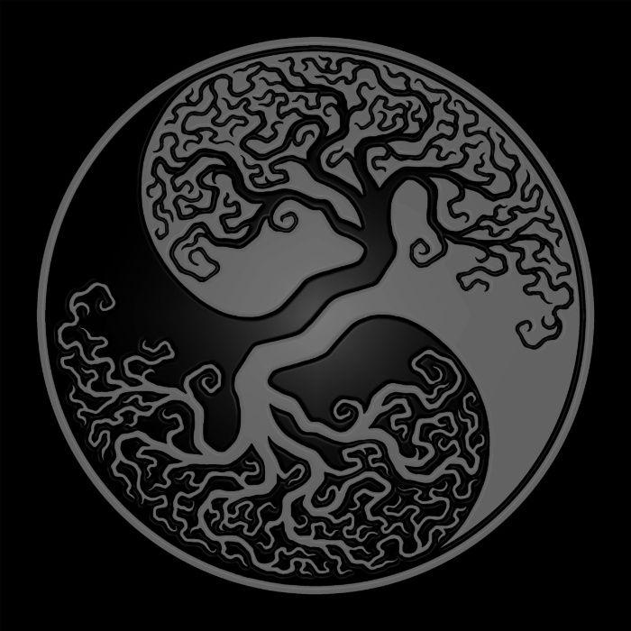 Gray And Black Tree Of Life Yin Yang Art Print Cute Art