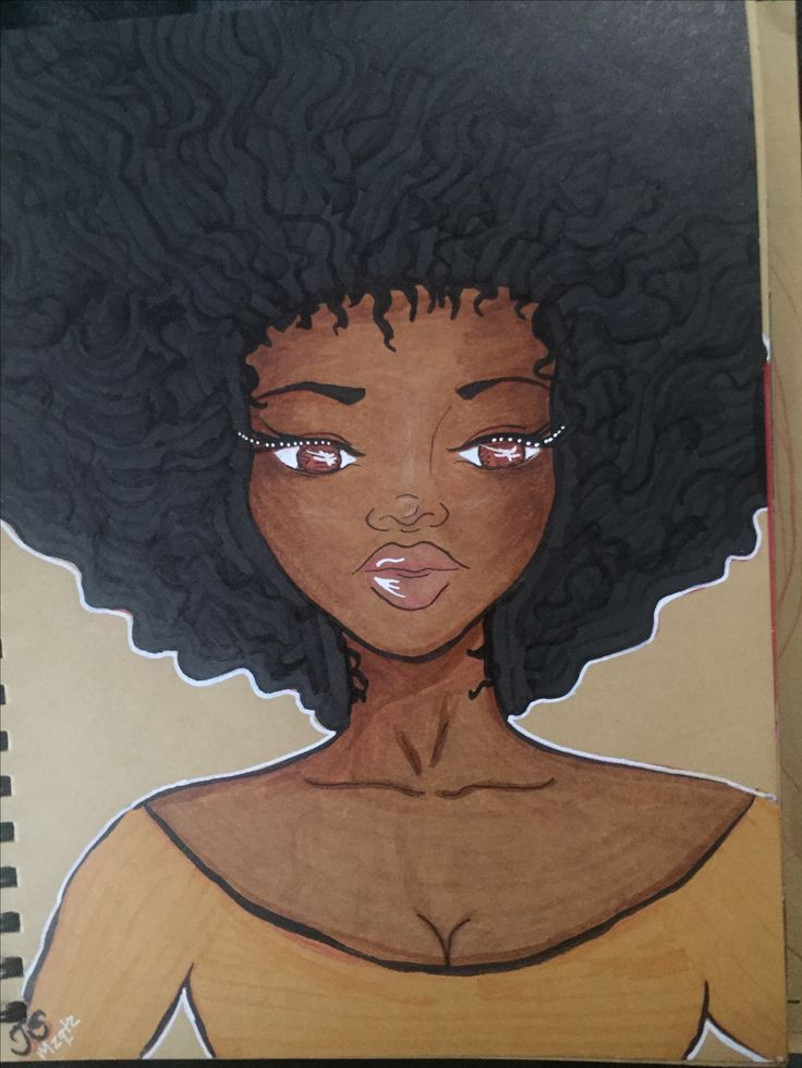 Art journal page by Tanya S a.k.a Mzqtz #copic #artjournal #naturalhair #afro