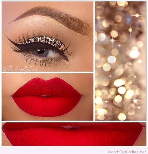Gold and red Christmas makeup