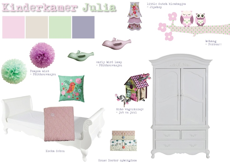 Ideeën voor meisjeskamer in roze, beige, mintgroen en lila - moodboard Jip by Jan