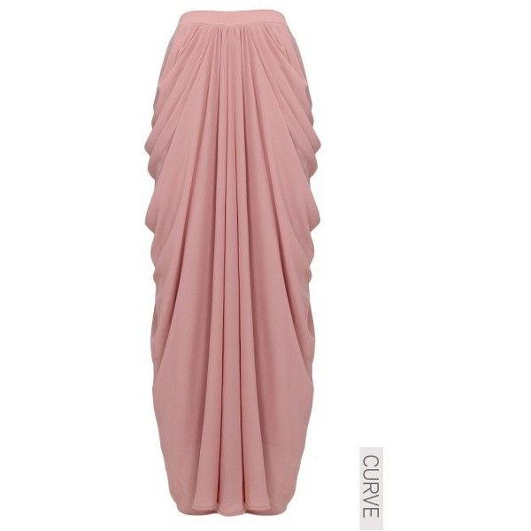 CURVE Candace Drape Chiffon Maxi Skirt - Dusty Pink - Poplook.com (£19) ❤ liked on Polyvore featuring skirts, red chiffon skirt, dusty pink skirt, red chiffon maxi skirt, maxi skirts and long red skirt