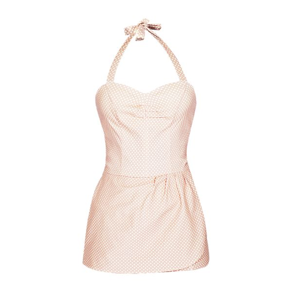 Stupendo costume da bagno intero, rosa e bianco, in stile pin up.