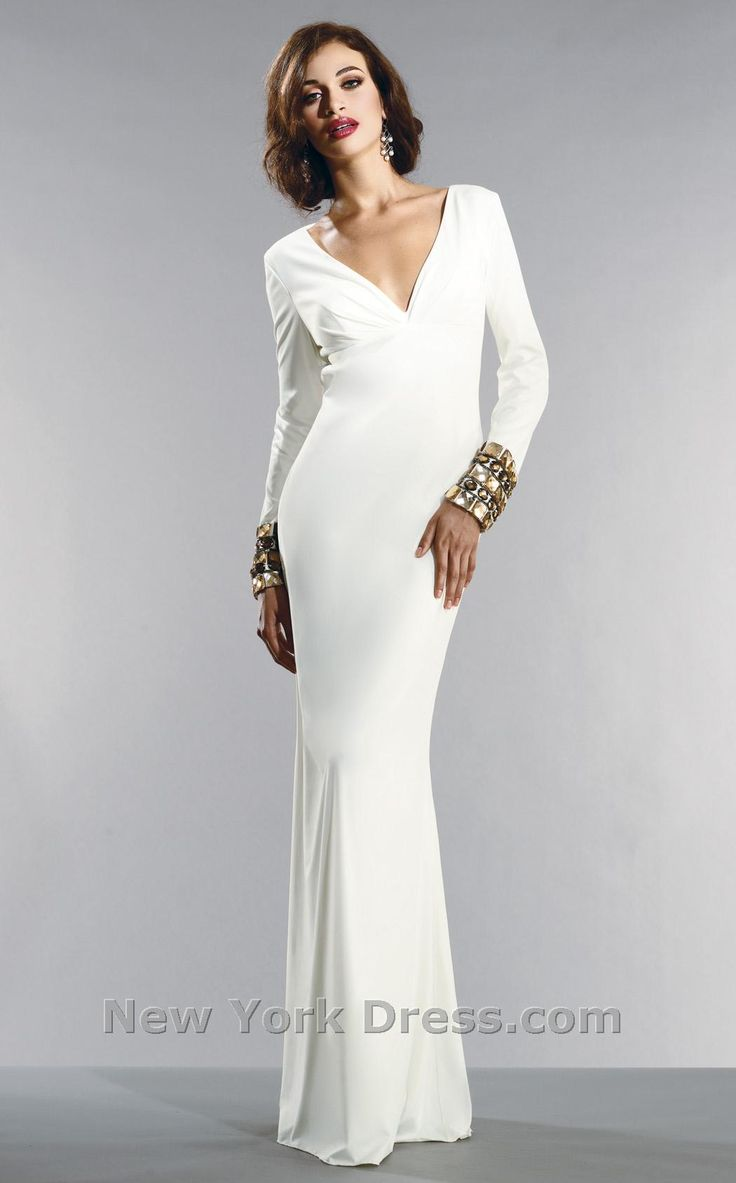 White column dress with long sleeves for Sleek wedding dresses with sleeves