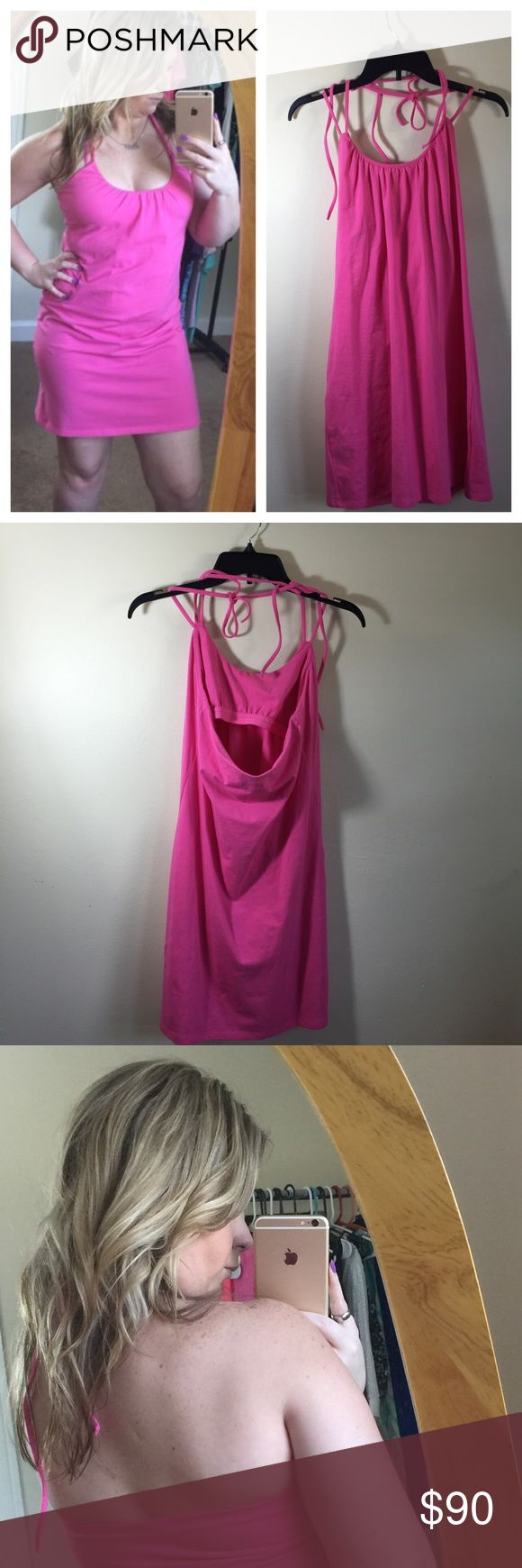 ☀️ LOWEST PRICE Victoria's Secret  halter dress This sexy hot pink dress from Victoria secret features a halter top that ties around the neck twice . Built in bra for a little bit support. Fits a small and medium💁🏼I also do bundles and offers are welcomed 💜 Victoria's Secret Dresses Mini