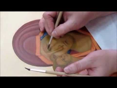 Published on Oct 3, 2012 Video of the icon being painted. Icon-painting workshop by Elena Vasileva (St. Petersburg). The Icon of the Mother of God of the Don.