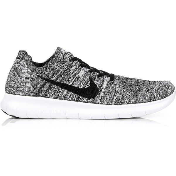 Nike Nike Free Run Flyknit Running Trainers ($130) ❤ liked on Polyvore featuring shoes, black, lace up shoes, laced shoes, nike shoes, flyknit shoes and nike footwear