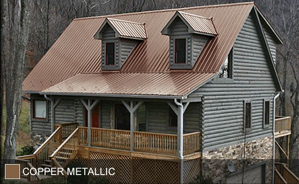 STEEL ROOF - Copper Metallic - ohmygosh i frickin love it. So perfect. Blueish grey exterior, stone accents, copper roof, but what color trim?