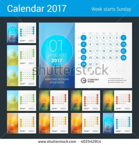 Desk Calendar for 2017 Year. Set of 12 Months. Vector Design Print Template with…