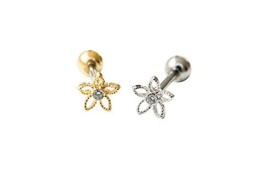 Open Cute Flower Piercing, Flower tragus earring, 11P-01177 (silver) 16g Body jewelry cartilage ear studs cute cool earring tragus helix earring for women teens girls CZ cubic zirconia flower earring piercing Cartilage Piercing Tragus Earring Cute Flower Earring for Women Teen Girls Stud earring Silver  Price is for one Piercing  Metal :Surgical Stainless Steel(Screw Backing)  Dimensions ; 6 mm X 6 mm  Backing:1.2 mm(16 gauge) x 6 mm long  Color : silver