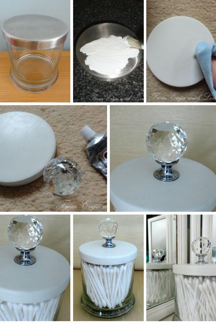 Sostenedor de punta de algodón bricolaje / q: haga el suyo con un tarro de vela vacío. transfor …