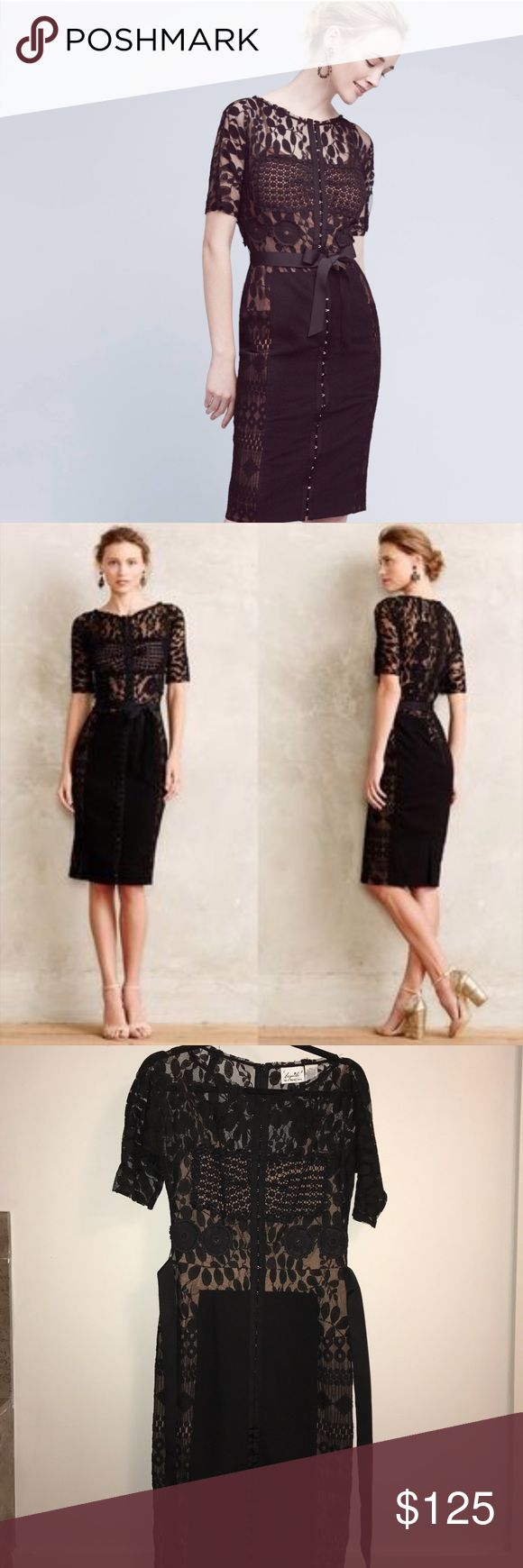 Byron Lars Black Lace Carissima Sheath Dress Sz 4 Anthropologie Byron Lars Carissima Sheath Dress. The perfect dress for a wedding or a funeral. Black lace top with body con sheath bottom. Nude shell underlay. Never been worn. Like new condition. Gorgeous ribbon that ties around waste and accentuates your curves. Anthropologie Dresses Midi