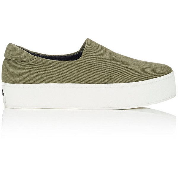 Opening Ceremony Women's Stretch-Twill Slip-On Platform Sneakers (£85) ❤ liked on Polyvore featuring shoes, sneakers, rubber sole shoes, slip on shoes, slip on trainers, high platform sneakers and slip-on sneakers