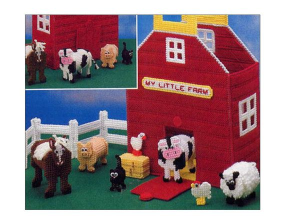 Plastic Canvas Farm Animal Toys and Barn Tote by allsfairyvintage