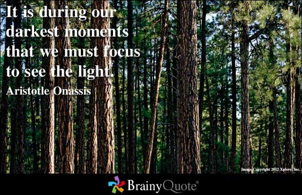 It is during our darkest moments that we must focus to see the light. - Aristotle Onassis at BrainyQuote