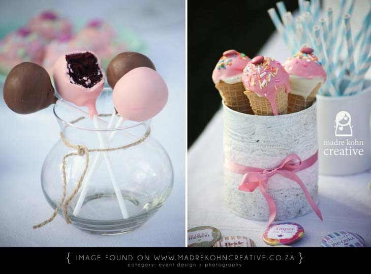 Ice cream cake pops, and normal choc cake pops