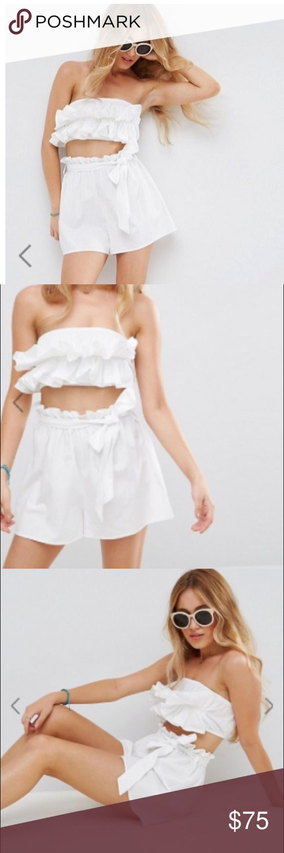 NEW 2 Piece Asos Petite Beach Co-off Top w/short NEW 2 Piece Asos Petite Beach Co-off Top w/short. Frill detail. Never worn. Two piece set. Size two. Stretchy fit ASOS Petite Tops Crop Tops