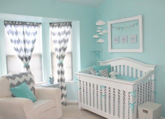 Tiffany blue and gray nursery.  Love! Featured Premier Fabrics: Zippy Storm (chair pillow, window panels), Zig Zag Storm (bumper).