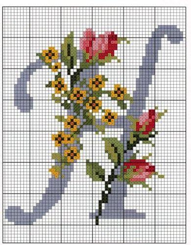 "Вышивка крестом-алфавит / Cross Stitch Alphabet: Letter ""H""."