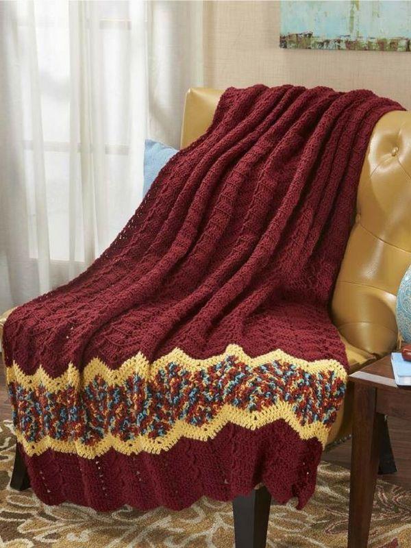 Herrschners Spiced Ripple Throw Crochet Afghan Kit At Walmart