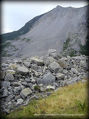 "Visit Frank Slide in southern Alberta - a terrible tragedy of nature.  Find out more at ""Down the Wrabbit Hole - The Travel Bucket List"". Click the image for the blog post."
