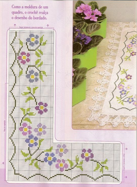 Bordado sencillo de un paño de mesa, sencillo, flores sencillas