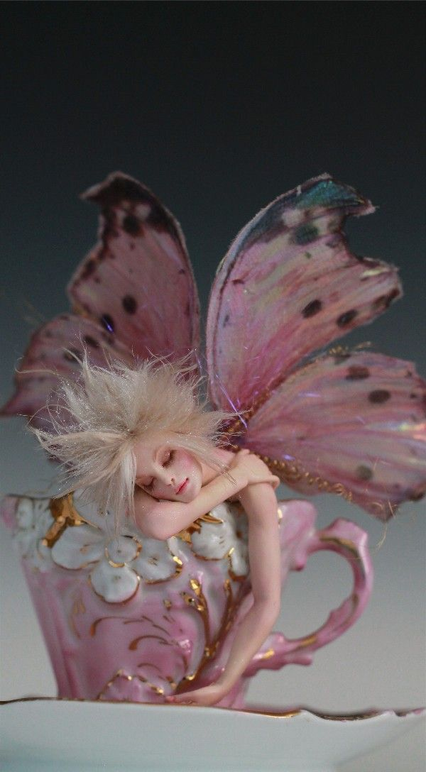 This is beautiful work and I love it BUT...spending $990 for a tea cup is not reasonable right now. Tired Tinkerbell A Tea Cup Faerie OOAK by Nicole West | eBay