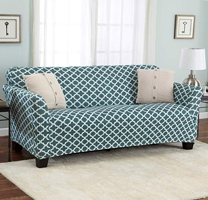 Amazon Com Home Fashion Designs Printed Stretch Sofa Furniture Cover Slipcover Brenna Collection Charcoal Gateway
