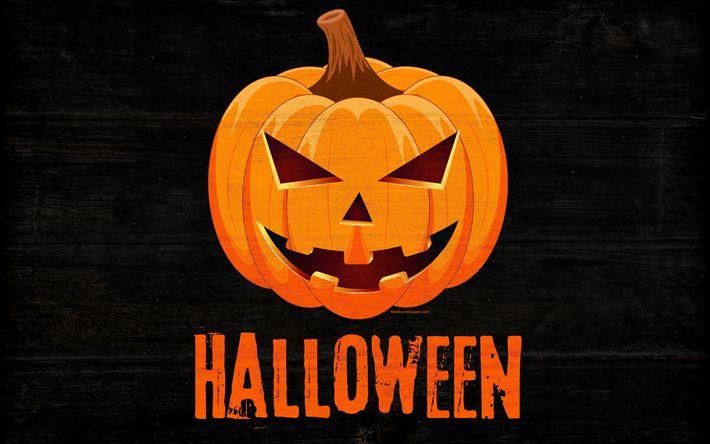 Indir duvar kağıdı Cadılar Bayramı, kabak, sonbahar, tatil, Cadılar Bayramı kavramlar, ahşap arka plan