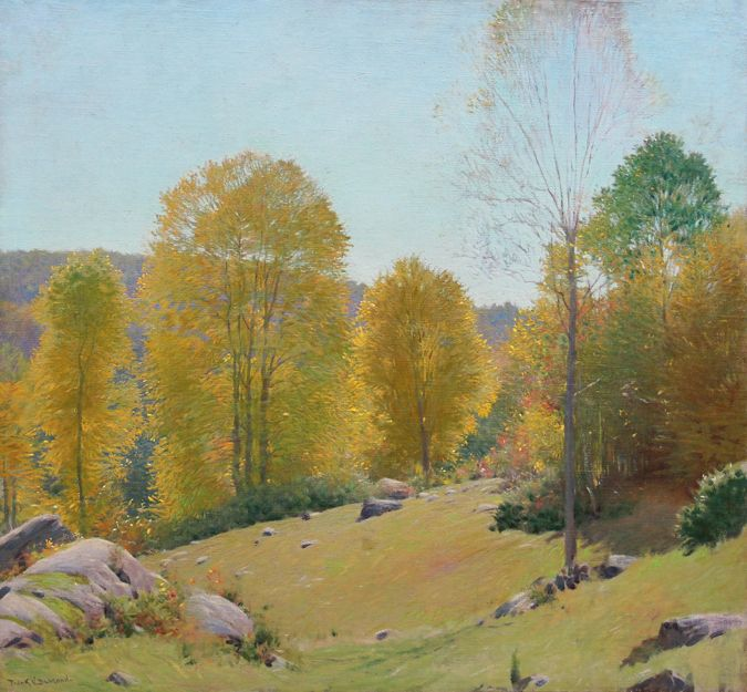 """""""Autumn in Old Lyme, Connecticut,""""  Frank Vincent DuMond, 1925, oil on canvas, 28 x 30"""", The Cooley Gallery."""