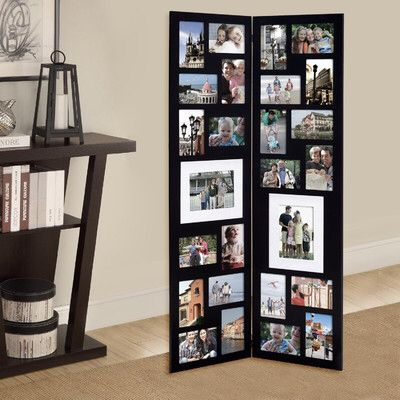 Pillar 26 Opening Decorative Wood Folding Floor Standing Photo Collage Picture Frame