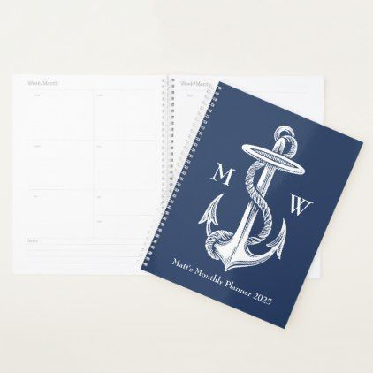 Vintage White Anchor Rope Navy Blue Monogram Planner - monogram gifts unique design style monogrammed diy cyo customize