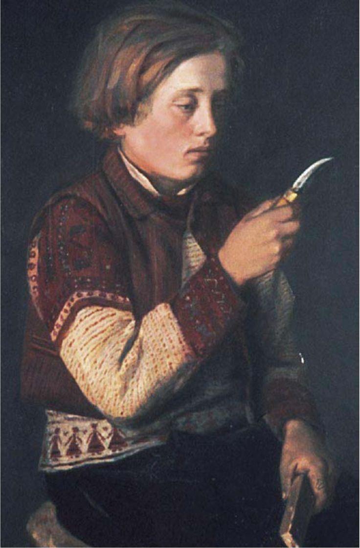 Arvid Liljelund , a boy from Korsnäs wearing a Korsnäs sweater. Oil. Ateneum, Finland. 1880.
