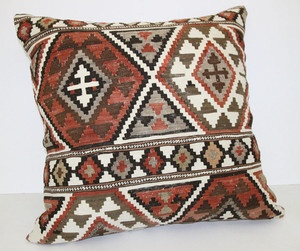 UNIQUE ANTIQUE CAUCASIAN SHIRVAN HANDWOVEN DECORATIVE KILIM PILLOW COVER 28""