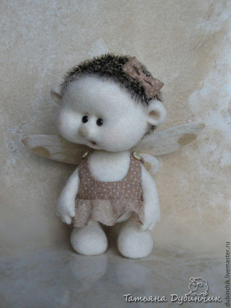 Купить Мой ангелочек - белый, ежик валяный, ангелочек, крылышки, ручная авторская работа